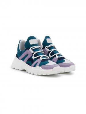 Массивные кроссовки в стиле колор-блок Gallucci Kids. Цвет: синий