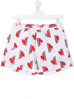 Плавки-шорты с логотипом Dsquared2 Kids. Цвет: белый