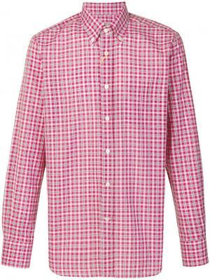 Рубашка в клетку Canali. Цвет: красный
