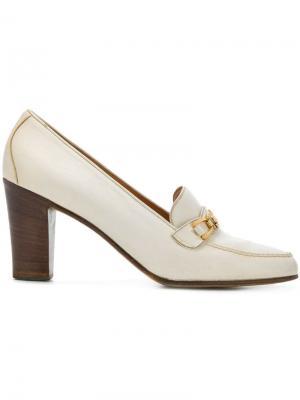 Туфли с пряжкой Céline Vintage. Цвет: белый