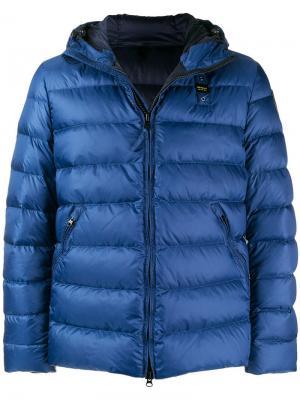 Hooded puffer jacket Blauer. Цвет: синий