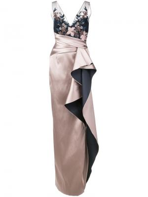 Embroidered sequined column gown Marchesa Notte. Цвет: розовый