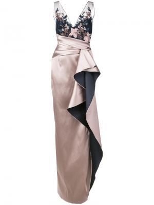 12d69d7e6a9 Embroidered sequined column gown Marchesa Notte. Цвет  розовый