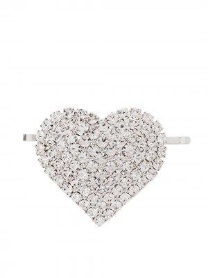 Заколка для волос с кристаллами Alessandra Rich. Цвет: серебристый