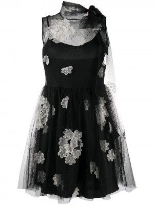 Flower appliqué mini dress RED Valentino. Цвет: черный