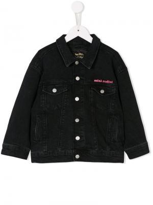 Embroidered denim jacket Mini Rodini. Цвет: черный