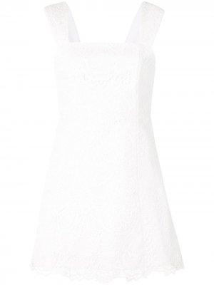 Кружевное платье мини Alice+Olivia. Цвет: белый
