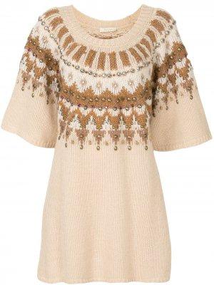 Платье вязки интарсия с бисером Mes Demoiselles. Цвет: коричневый