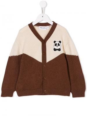 Panda-patch cardigan Mini Rodini. Цвет: коричневый