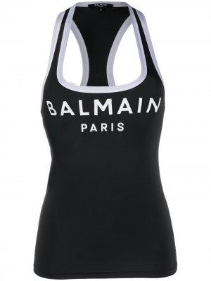 Топ танкини с логотипом Balmain. Цвет: черный