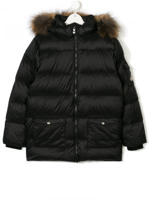 Пуховое пальто с капюшоном Pyrenex Kids. Цвет: черный