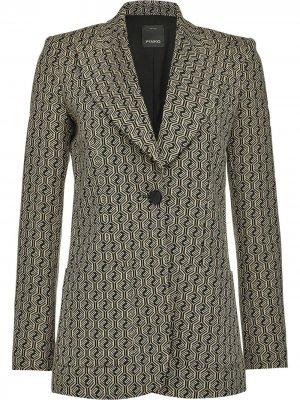 Однобортный пиджак с геометричным принтом Pinko. Цвет: черный