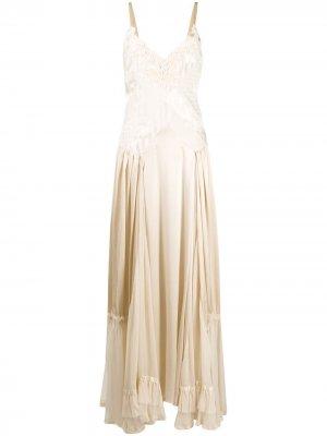 Длинное платье с вышивкой бисером Antonio Marras. Цвет: нейтральные цвета