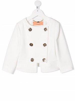 Двубортный пиджак Elisabetta Franchi La Mia Bambina. Цвет: белый