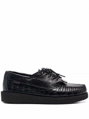 Туфли на шнуровке с тиснением под кожу змеи Sebago. Цвет: черный