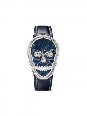 Наручные часы Petit Skull в форме черепа с бриллиантами Fiona Kruger. Цвет: голубой / черный