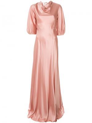 Платье без застежки с воротником шалька Alberta Ferretti. Цвет: розовый