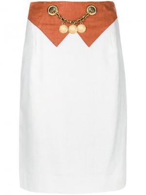 Belt embellished skirt Hermès Vintage. Цвет: белый